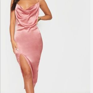 Rose Strappy Satin Cowl Midi Dress